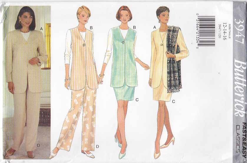 Butterick Sewing Pattern 3947 Misses Size 12-14-16 Easy Classic Wardrobe Jacket Vest Top Skirt Pants