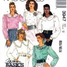McCall's Sewing Pattern 3947 Misses Size 12 Fashion Basics Long Sleeve Blouses Collar Options
