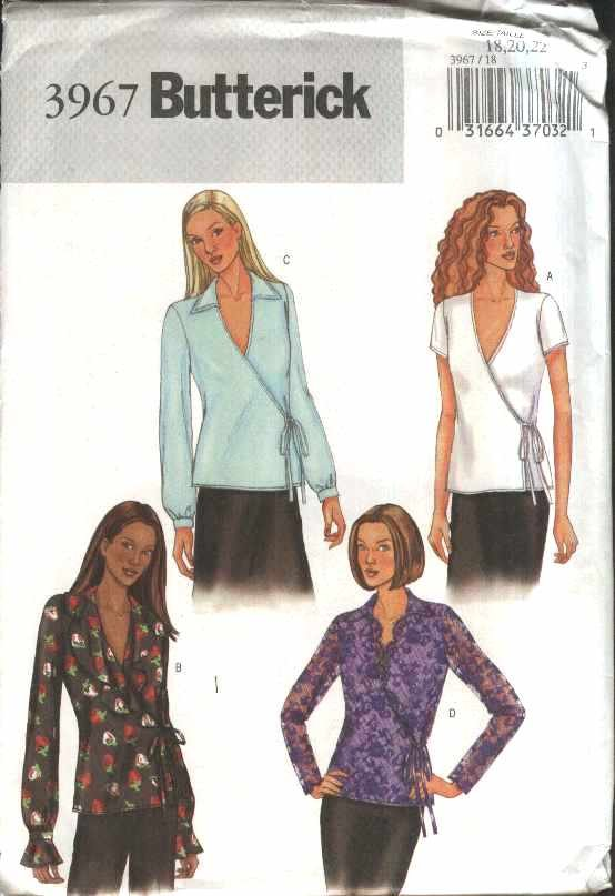 Butterick Sewing Pattern 3967 Misses� Size 18-22 Easy Front Wrap Tops Sleeve Collar Options