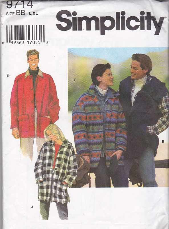 """Simplicity Sewing Pattern 9714 Misses Mens Unisex Chest Size 30-40"""" Hooded Button Front Jacket"""