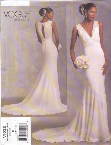 Vogue Sewing Pattern 1032 Bridal Original Misses Size 6-8-10 Bridal Gown Wedding Dress Train