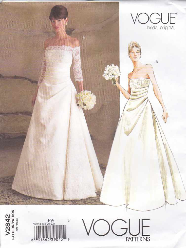 Vogue Sewing Pattern 2842 Misses Size 18-20-22 Wedding Dress Bridal Gown Formal