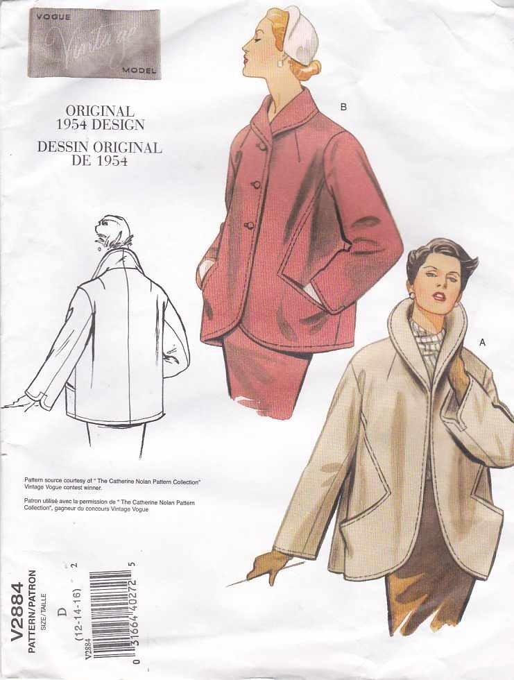 Vogue Sewing Pattern 2884 Misses Size 12-14-16 1954 Vintage Jacket