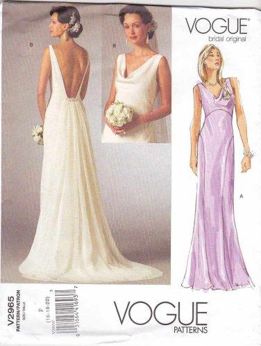 Vogue Sewing Pattern 2965 Bridal Original Misses Size 16-20 Wedding Dress Bridal Gown Formal