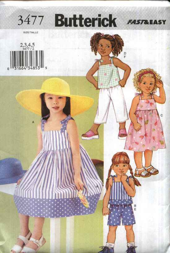 Butterick Sewing Pattern 3477 B3477 Girls Size 2-5 Easy