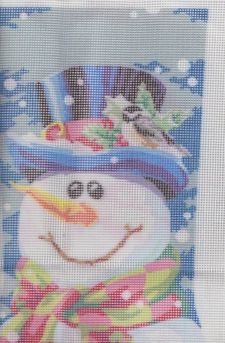 """Snowman Needlepoint Christmas Stocking Dimensions #9128 14 1/2"""" Long"""