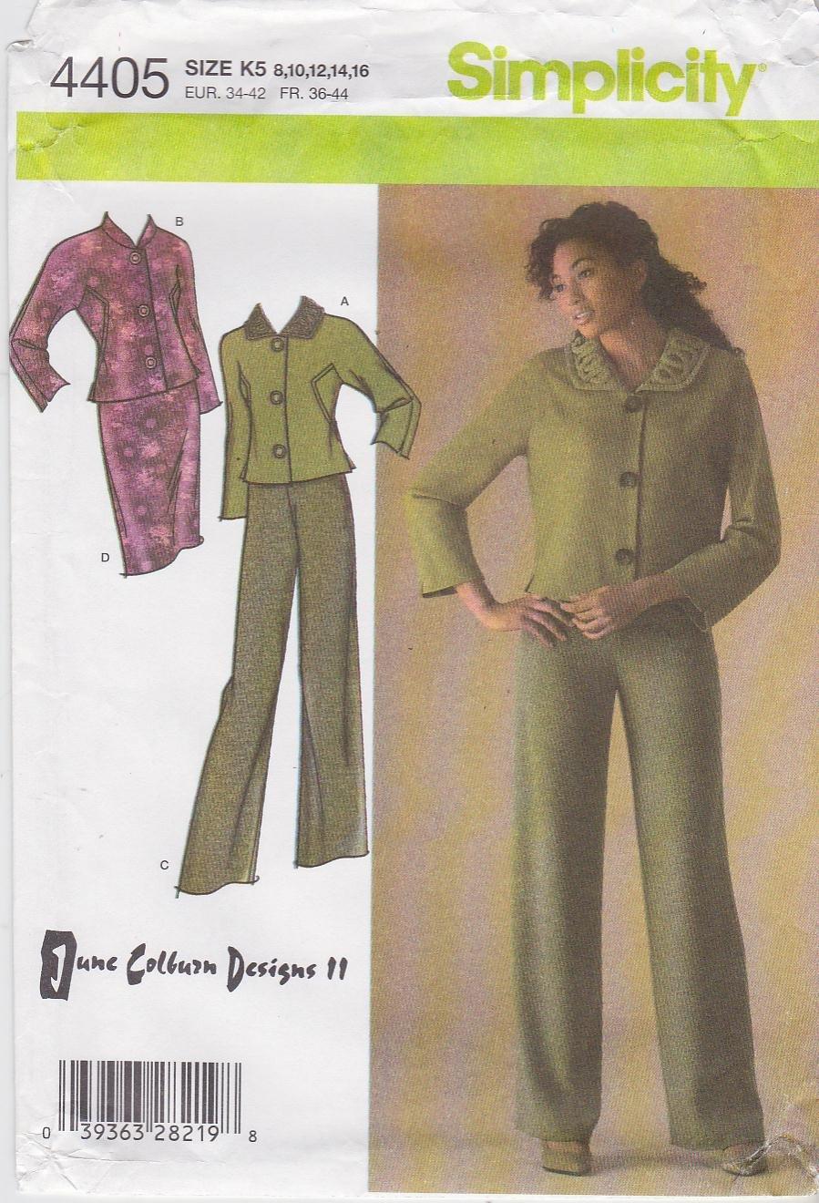 Simplicity Sewing Pattern 4405 Misses Size 12-20 Lined Jacket Skirt Pants Suit Pantsuit June Colburn