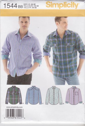 """Simplicity Sewing Pattern 1544 Men's Size 34-42"""" Button Front Long Sleeve Shirts"""