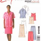 McCall's Sewing Pattern 4345 Misses Sizes 14-20 Easy Summer Wardrobe Tops Dress Pants