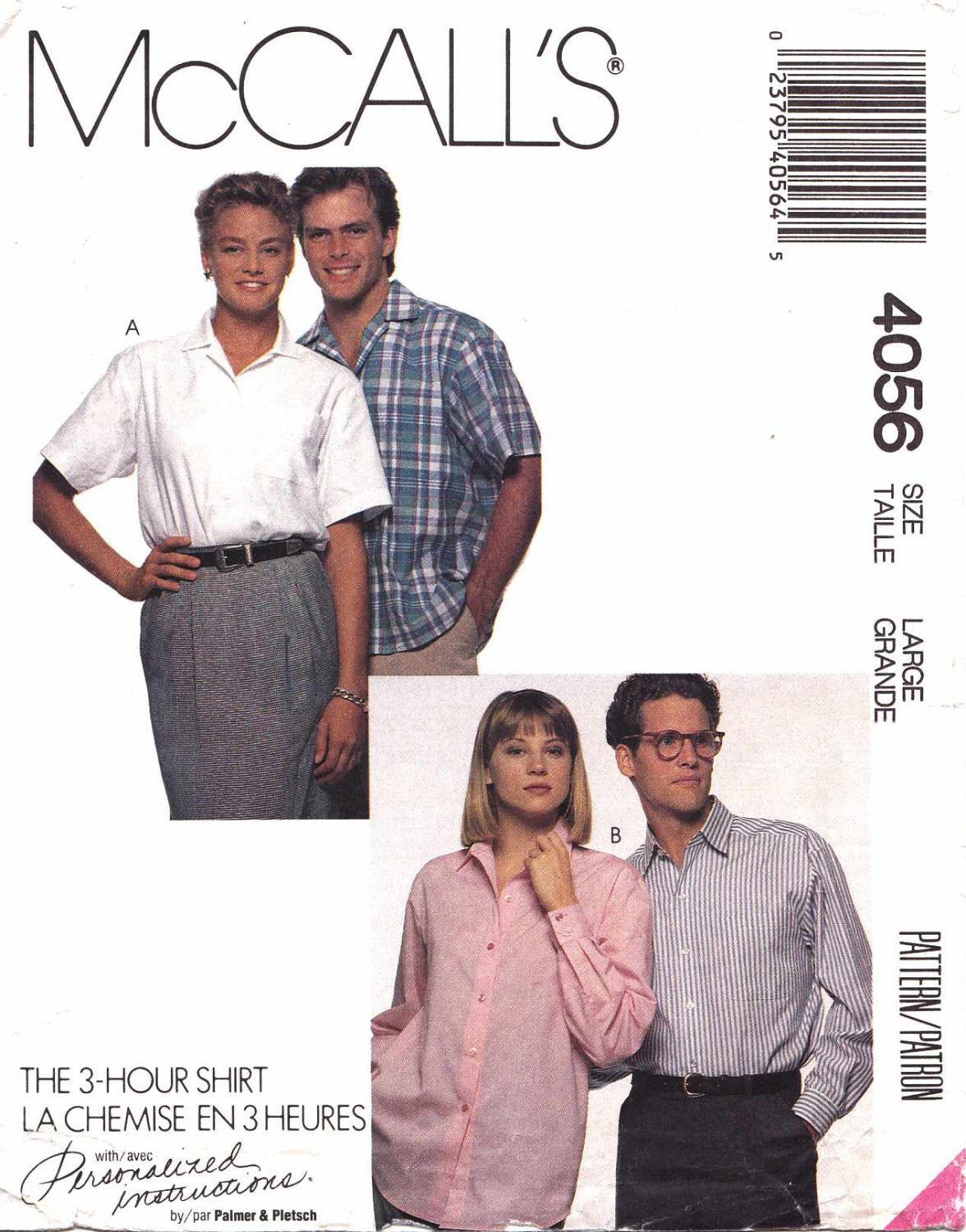 """McCall's Sewing Pattern 4056 Men's Misses Chest Size 40-42"""" Shirt Sleeve Options"""