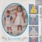 McCall's Sewing Pattern 4898 M4898 Girls Boys Size 2 Kitty Benton Pinafore Overalls Rompers Knit Top