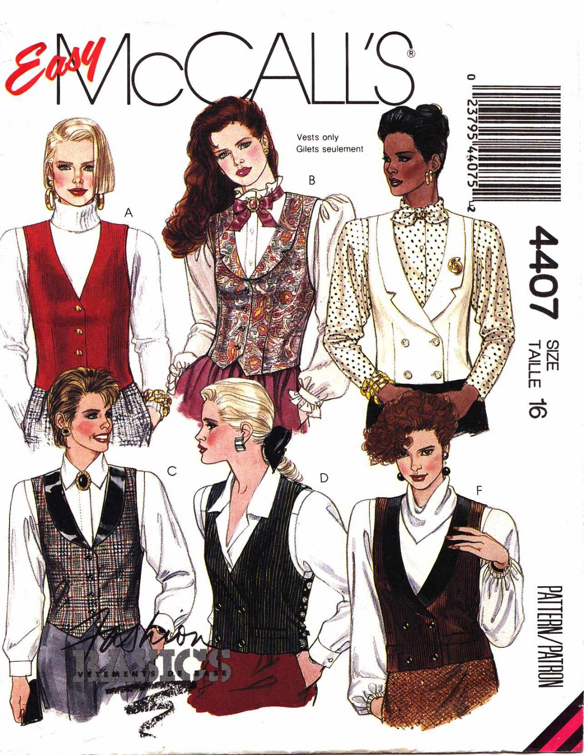 McCall's Sewing Pattern M4407 4407 Misses Size 16 Easy Button Front Lined Vest Tuxedo V-Neck