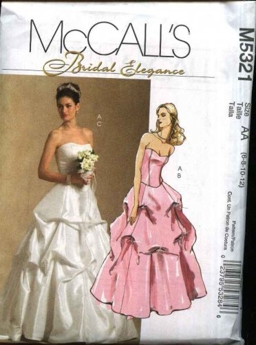 McCall�s Sewing Pattern M5321 Misses Size 6-12 Two Piece Top Bustier Skirt Wedding Bridal Gown