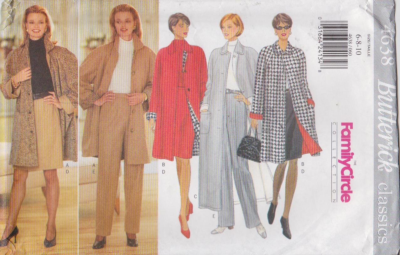 Butterick Sewing Pattern 4638 Misses Size 12-16 Easy Classics Reversible Coat Pants Skirt