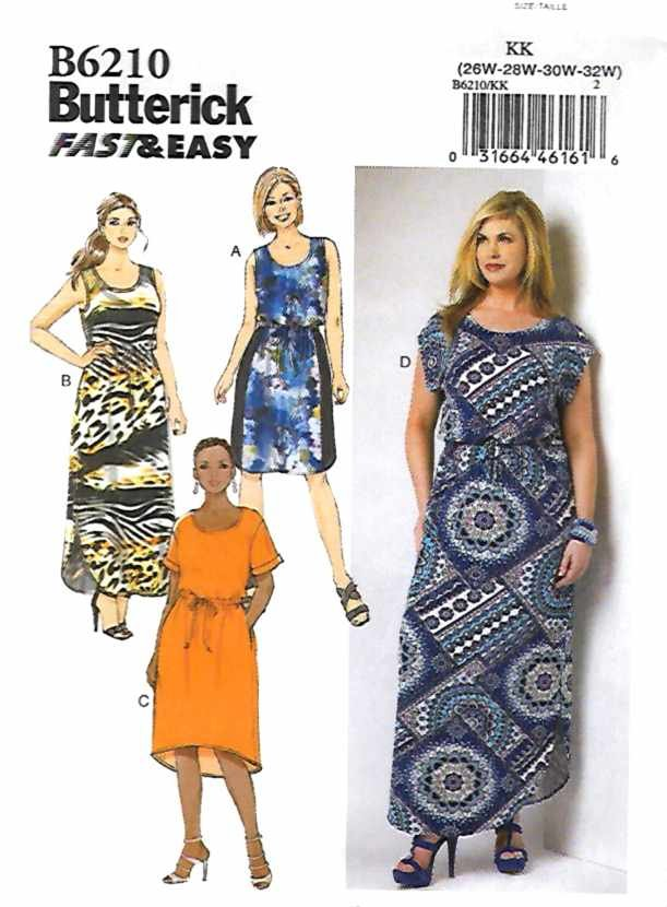Butterick Sewing Pattern 6210 B6210 Womens Plus Size 26W-32W Easy Dress Sleeve Options