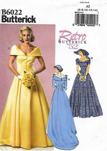 Butterick Sewing Pattern 6022 B6022 Misses Size 14-22 Retro '52 Wedding Dress Gown