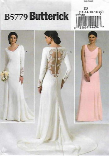 Butterick Sewing Pattern 5779 Misses Size 12-20 Cut-on Train Wedding Gown Bridesmaid Dress