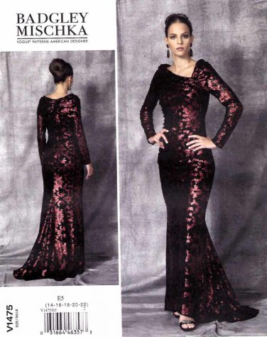 Vogue Sewing Pattern 1475 Misses Size 6-14 Badgley Mischka Cut-On Train Evening Wedding Gown