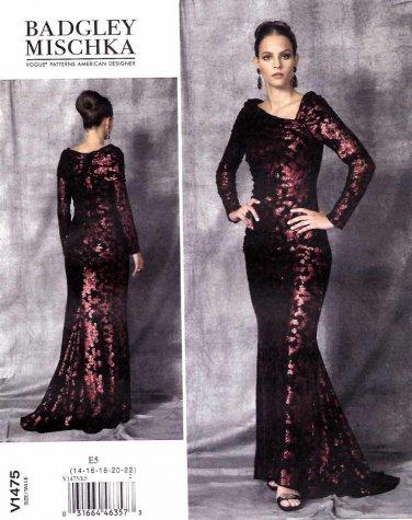Vogue Sewing Pattern 1475 Misses Size 14-22 Badgley Mischka Cut-On Train Evening Wedding Gown
