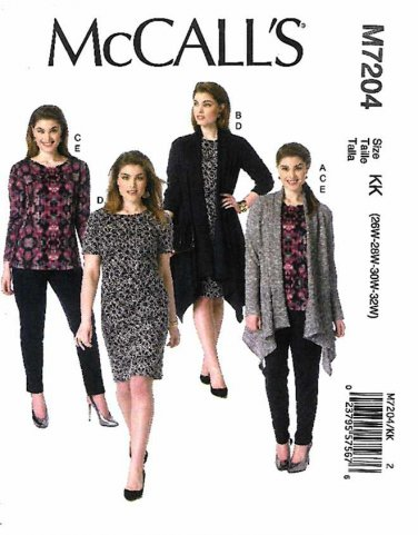 McCall's Sewing Pattern 7204 Women's Plus Size 26W-32W Knit Wardrobe Jackets Top Dress Pants.