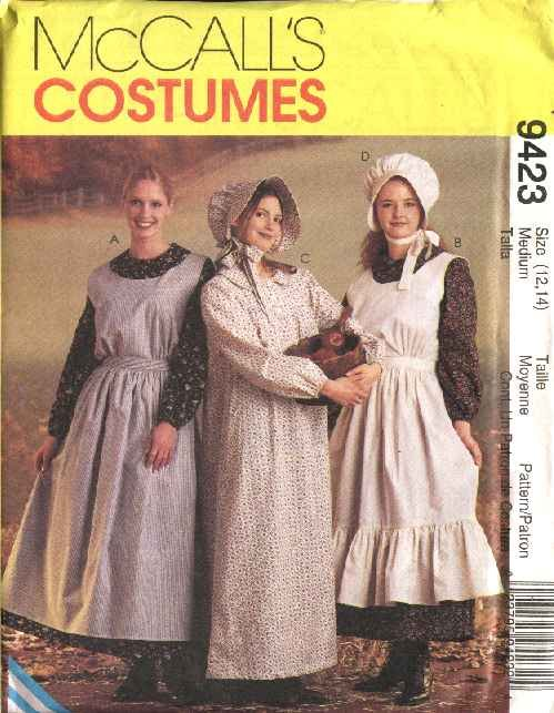McCall's Sewing Pattern 7220 M7220 Misses Size 16-18 Pioneer Costumes Long Dress Apron Pinafore