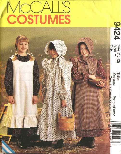 McCall's Sewing Pattern 7231 9424 Girls Size 14-16 Pioneer Costume Long Dress Apron Pinafore