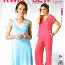 Kwik Sew Sewing Pattern 3980 K3980 Misses Sizes XS-XL Nightgown Pajamas Pants Top Nightie