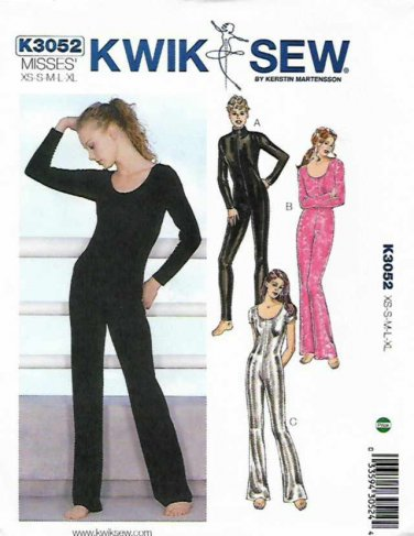 Kwik Sew Sewing Pattern 3052 Misses Sizes XS-XL (approx 8-22) Unitard Dance Costume Bodysuit