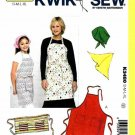 Kwik Sew Sewing Pattern 3480 Adult Children Sizes S-XL Butcher Carpenter Aprons Scarf