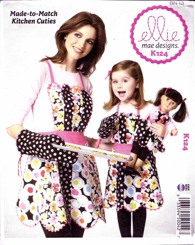 "Kwik Sew Sewing Pattern 0124 K124 Adult Children Sizes S-L Mom Girl 18"" Doll Aprons Oven Mitt"