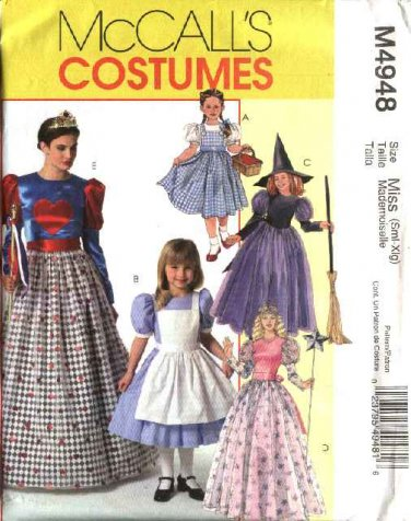 McCall's Sewing Pattern M4948 4948 Girls Size 3-8 Costumes Witch Dorothy Alice Queen of Hearts