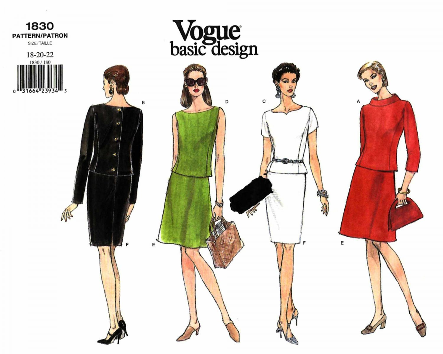 Vogue Sewing Pattern 1830 Misses Size 18-22 Easy Basic A-Line Straight Skirts Tops