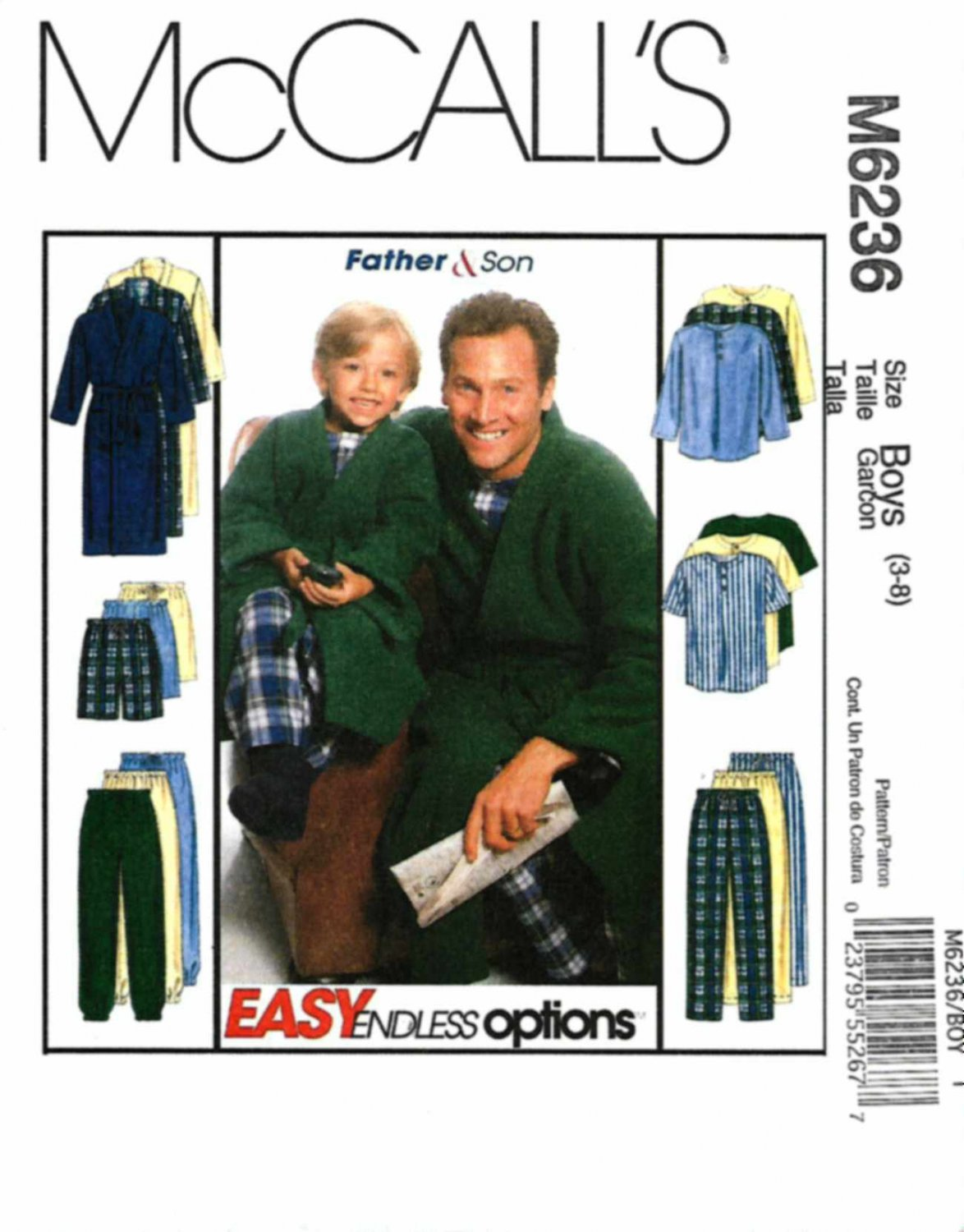 McCall's Sewing Pattern 6236 Boys Size 3-8 Easy Pajamas Pullover Top Pants Shorts Front Wrap Robe