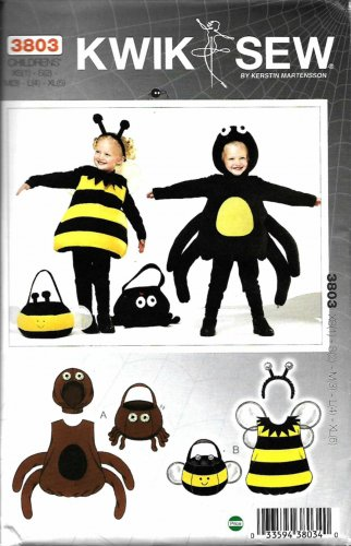 Kwik Sew Sewing Pattern 3803 Girls' Boys' Size 1-5 Costumes Bee Spider Octopus Treat Bag