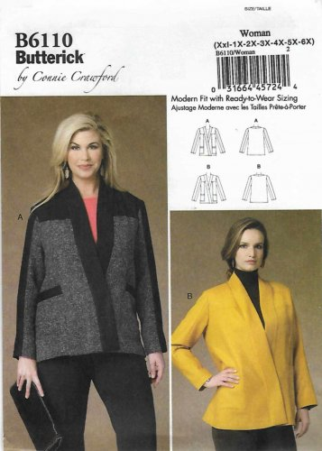 Butterick Sewing Pattern 6110 B6110 Womens Plus Size 18W-44W Easy Connie Crawford Wrap-Front Jackets