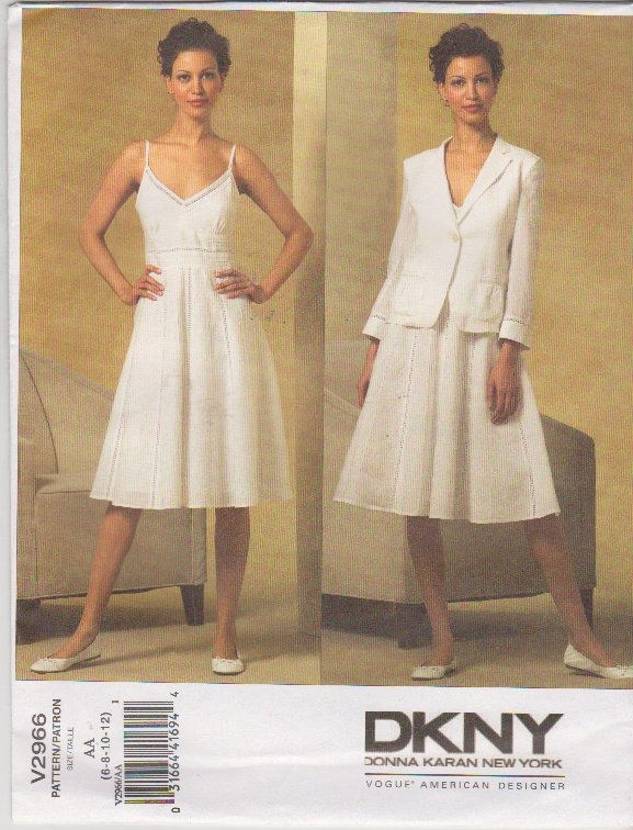 Vogue Sewing Pattern 2966 V2966 Misses Size 6-12 DKNY Donna Karan Summer Dress Jacket Sundress
