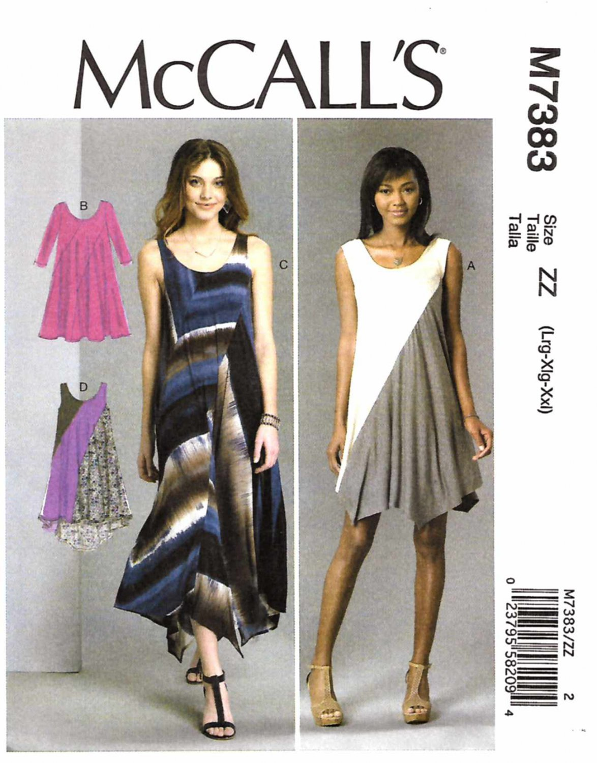 McCall's Sewing Pattern 7383 Misses Size 16-26 Easy Knit Pullover Dress Seam Details