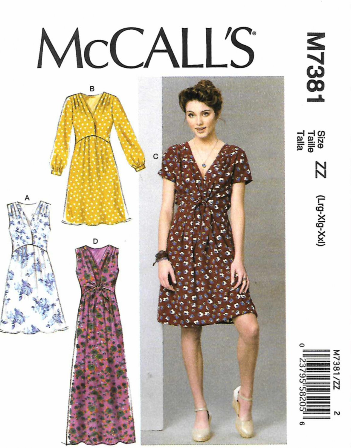 McCall's Sewing Pattern 7381 M7381 Misses Size 16-26 Dresses Pleated Skirt Sleeve Tie Options