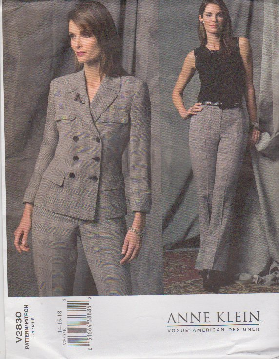 Vogue Sewing Pattern 2830 Misses Size 14-16-18 Anne Klein Jacket Pants Pantsuit