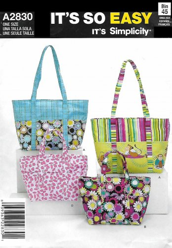 Simplicity Sewing Pattern 2830 A2830 Fashion Accessories Bags Purse Tote Bag Two Sizes