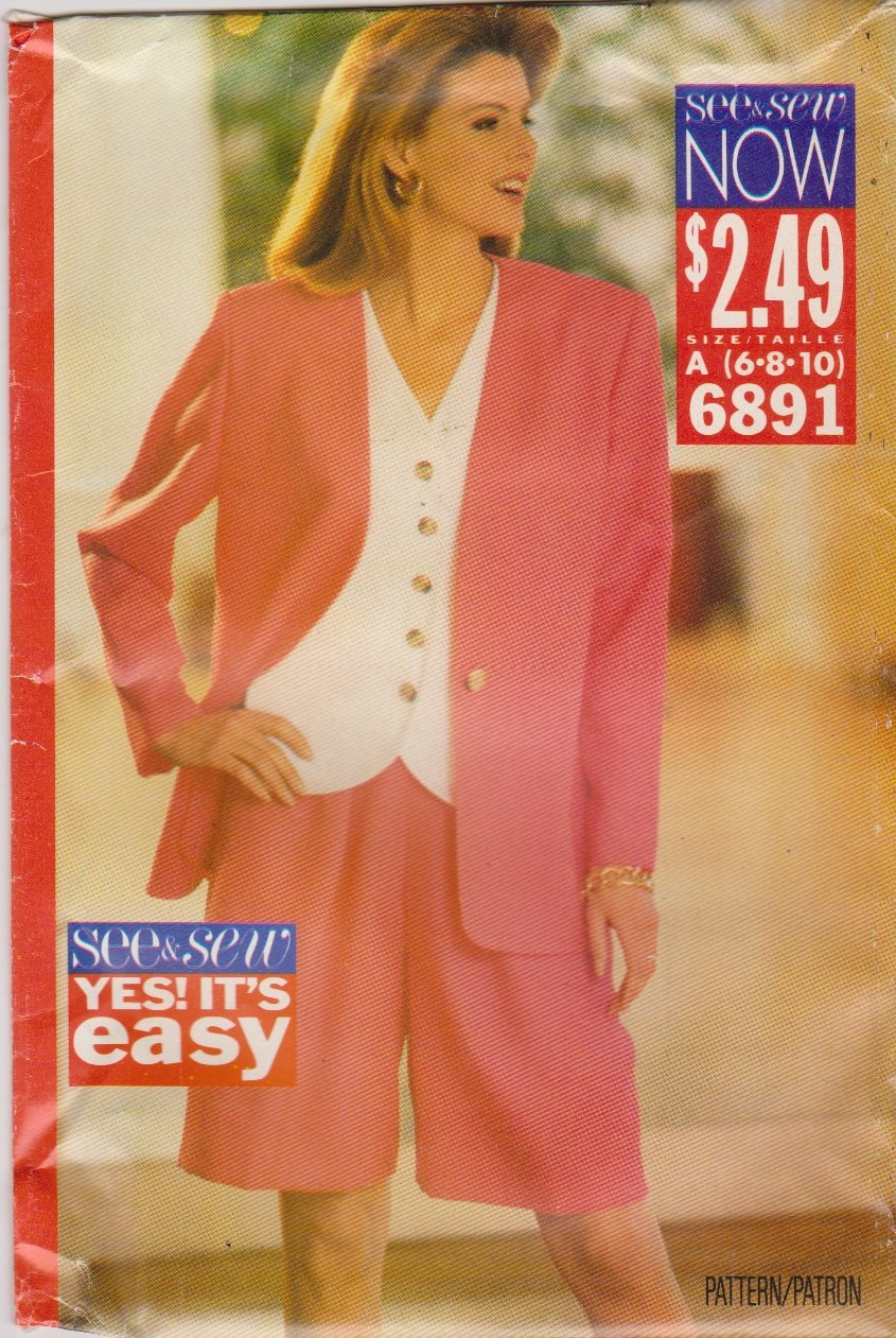 butterick sewing pattern 6891 misses size 6810 easy