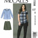McCall's Sewing Pattern 7258 Womens Plus Size 18W-24W Easy Pullover Top Skirt Pants
