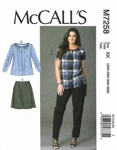McCall's Sewing Pattern 7258 Womens Plus Size 26W-32W Easy Pullover Top Skirt Pants