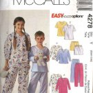 McCall's Sewing Pattern 4278 M4278 P302 P476 Boys Girls Size 3-6 Easy Nightshirt Pajamas Tops Pants