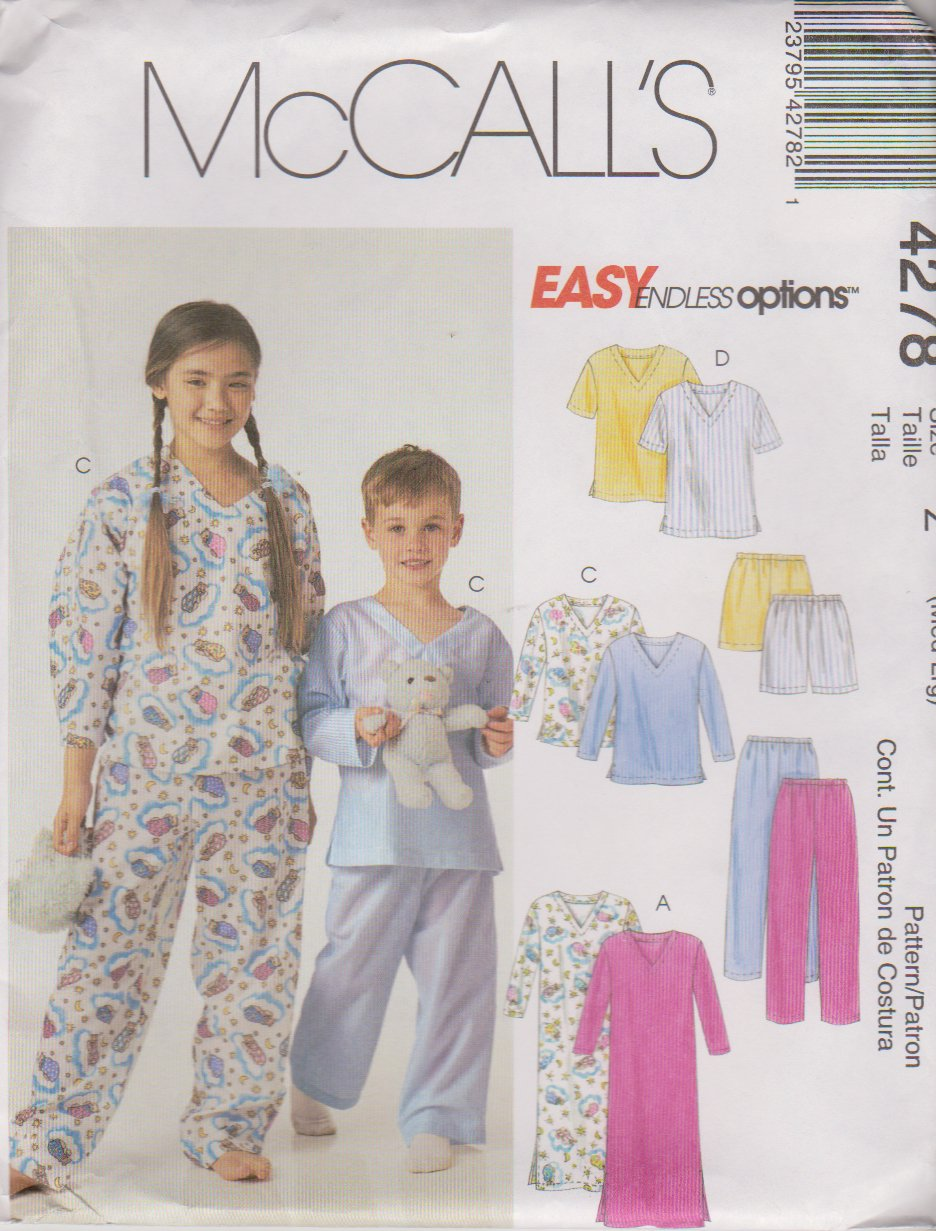 McCall's Sewing Pattern 4278 M4278 P302 P476 Boys Girls Size 7-12 Easy Nightshirt Pajamas Tops Pants