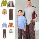 Simplicity Sewing Pattern 1505 Boys/Men's Sizes S-L/1XL-5XL Easy Pants Shorts Knit Tops