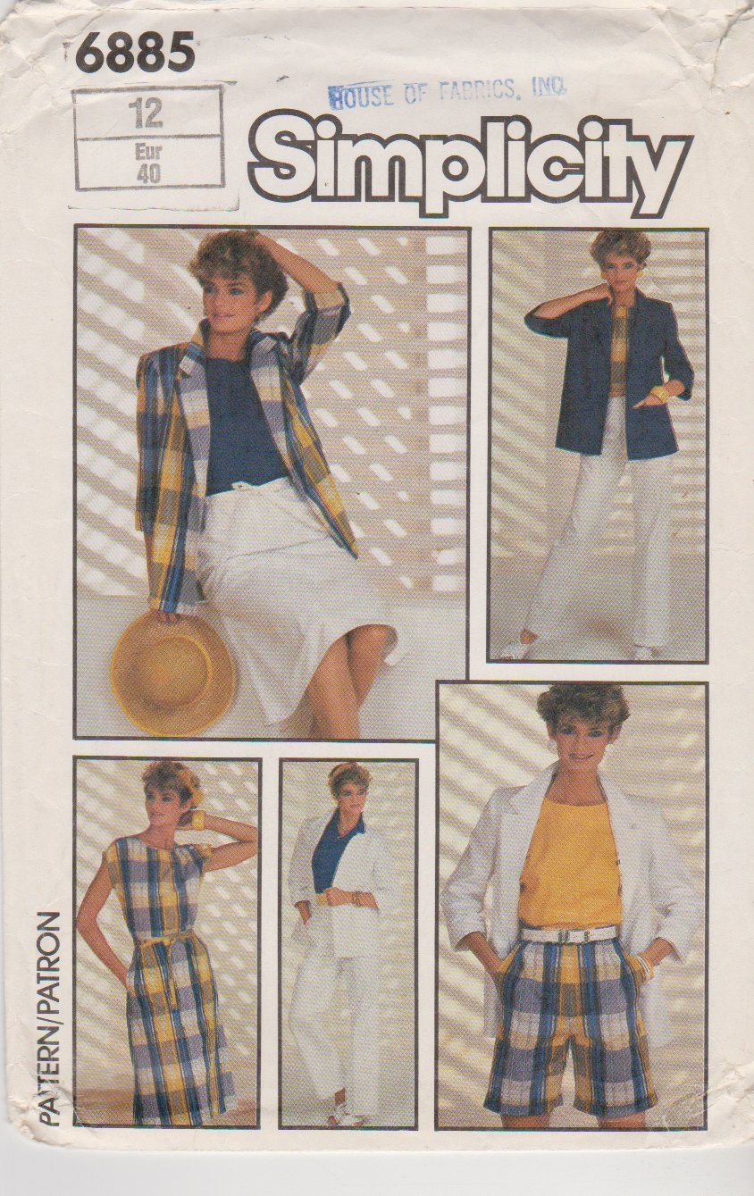 Simplicity Sewing Pattern 6885 Misses Size 12 Easy Wardrobe Wrap Skirt Top Shorts Jacket