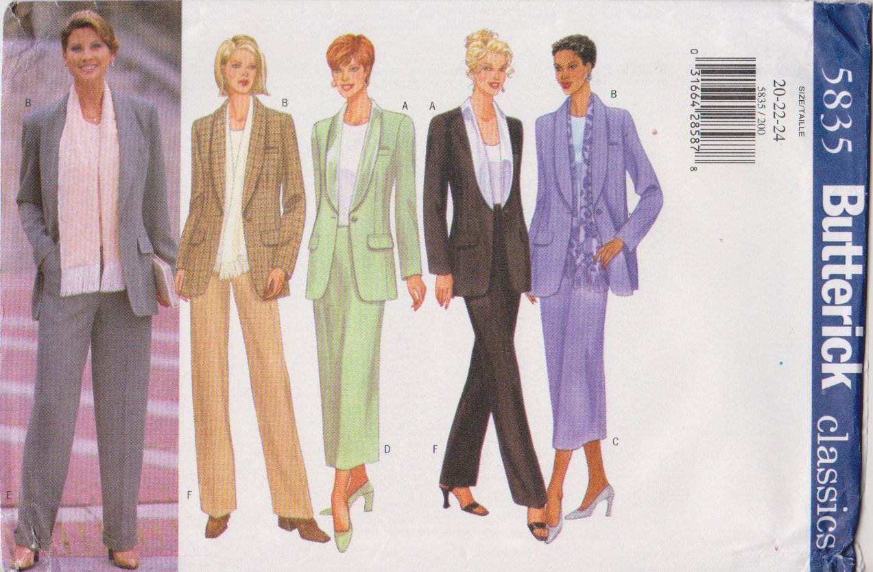Butterick Sewing Pattern 5835 Misses Size 20-22-24 Classic Shawl Collar Jacket Straight Skirt Pants