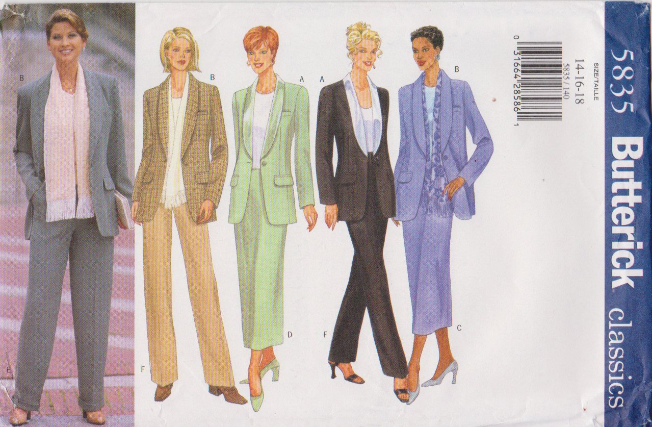 Butterick Sewing Pattern 5835 B5835 Misses Size 14-18 Shawl Collar Jacket Straight Skirt Pants