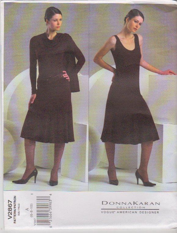 Vogue Sewing Pattern 2867 Misses Size 6-8-10 Easy Donna Karan Knit Shrug Top Skirt